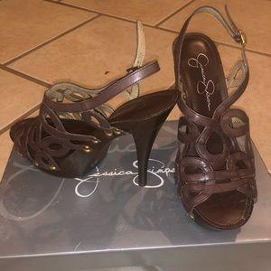 Jessica Simpson Dark Chocolate soft top sandals